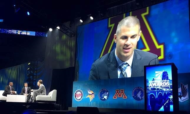 Joe Mauer is honored at the Minnesota Sports Awards