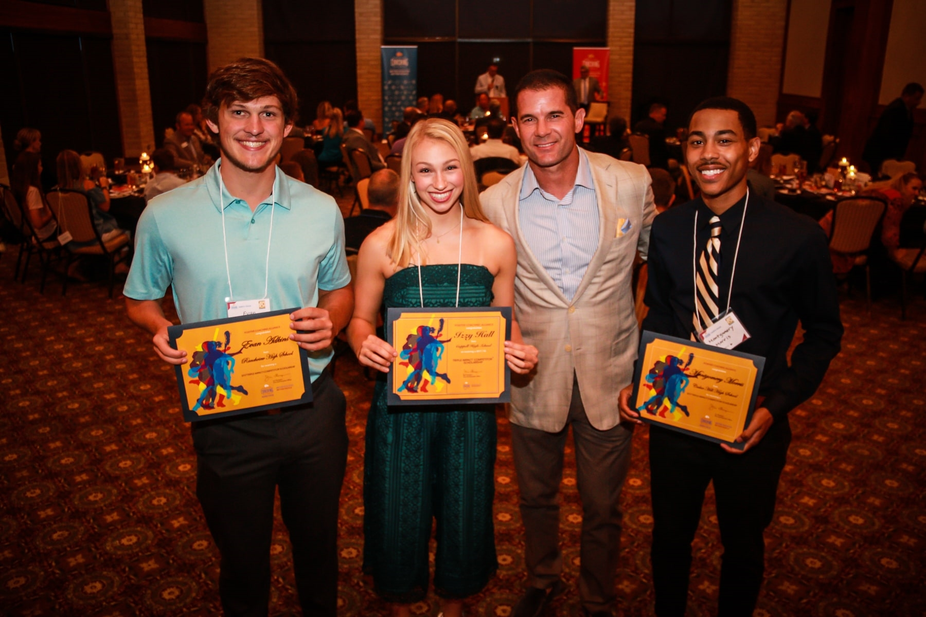 Former Texas Rangers Shortsop and 5x All-Star Michael Young with Scholarship Recipients