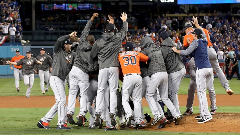 The Houston Astros celebrating their 2017 MLB National Championship win.