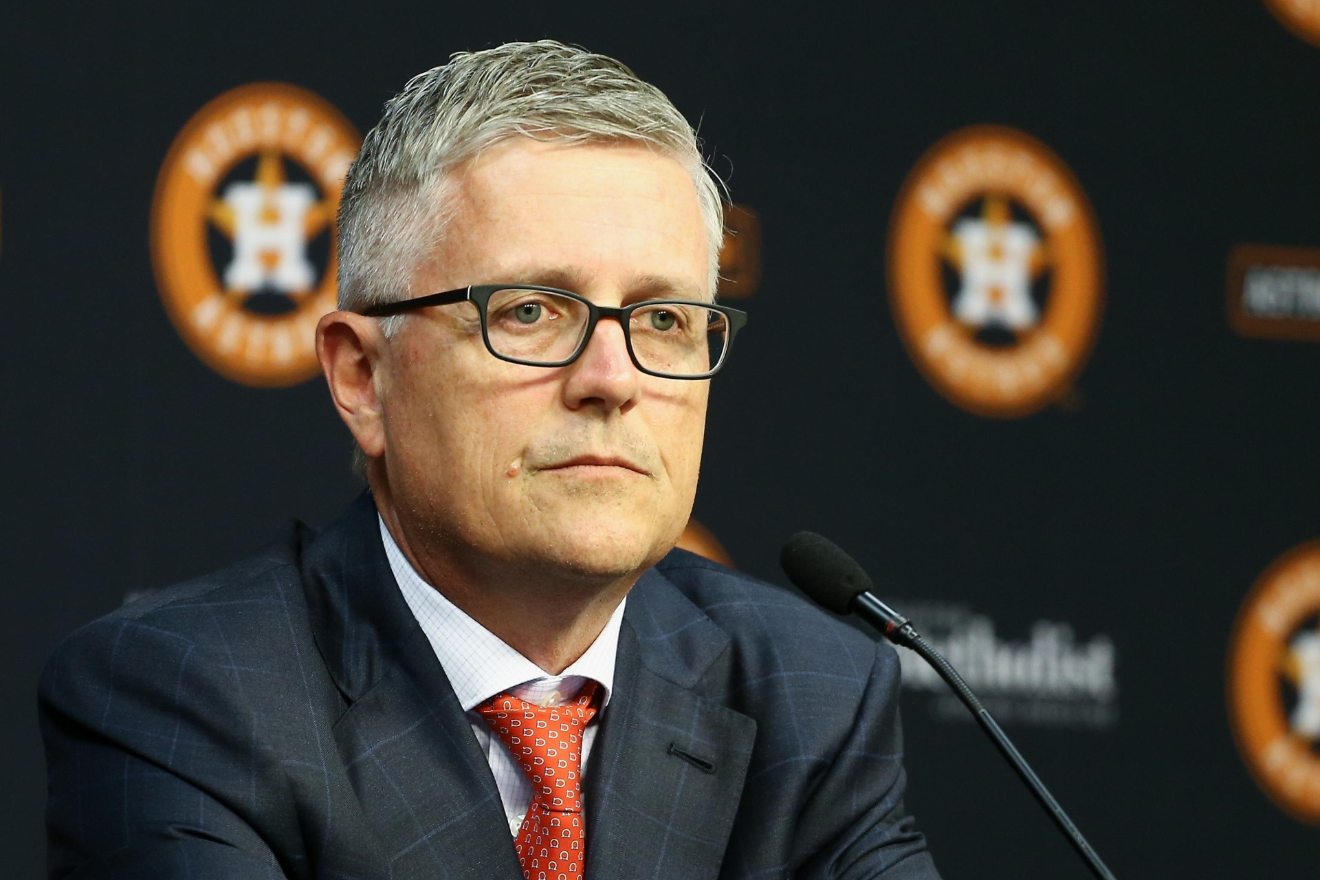 Former General Manager Jeff Luhnow at an Astros' press conference.